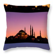 Suleymaniye Sundown Triptych 04 Throw Pillow by Rick Piper Photography