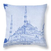 Sultan Ahmed Mosque Istanbul Blueprint Throw Pillow