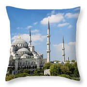 Sultan Ahmed Mosque Landmark In Istanbul Turkey Throw Pillow