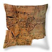 Sumerian Map, Clay Cuneiform Tablet Throw Pillow