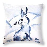 Sumi-e Snow Bunny Throw Pillow