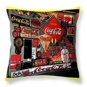 Sumi-e Styled Coca Cola Signs Throw Pillow
