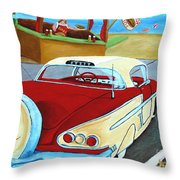 Cruising The Beach Throw Pillow