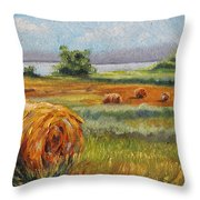 Summer Bales Throw Pillow