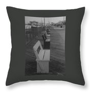 Summer Benches Seaside Heights Nj Bw Throw Pillow by Joann Renner