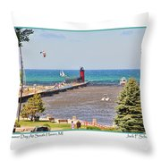 Summer Day At South Haven Mi Throw Pillow