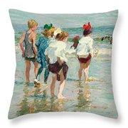 Summer Day Brighton Beach Throw Pillow