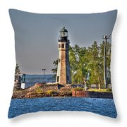 Summer Day View Of The Lighthouse  Throw Pillow