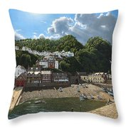 Summer Evening Clovelly North Devon Throw Pillow