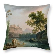 Summer Evening Landscape In Italy Throw Pillow