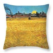 Summer Evening Wheat Field At Sunset Throw Pillow