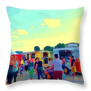 Summer Family Fun Paintings Of Food Truck Art Roadside Eateries Dad Mom And Little Boy Cspandau Throw Pillow