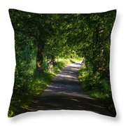 Summer Forest Road Throw Pillow