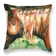 Horse Painting In Watercolor Summer Horse Throw Pillow