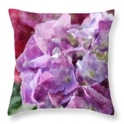 Summer Hydrangeas With Painted Effect Throw Pillow