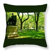Summer In Central Park Manhattan Throw Pillow