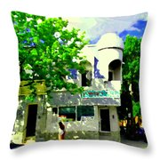 Summer In Psc Pizza At Connie's Pizzaria And Hamburgers City Scene Sud Ouest Montreal Carole Spandau Throw Pillow