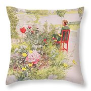 Summer In Sundborn Throw Pillow by Carl Larsson