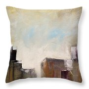 Summer In The City Abstract Geometric Original Painting On Canvas Throw Pillow