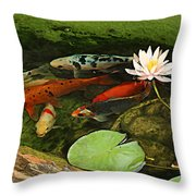 Summer Koi And Lilly Throw Pillow