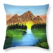 Summer Lake Sunrise Throw Pillow
