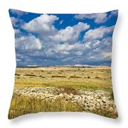 Summer Landscape Of Pag Island Throw Pillow