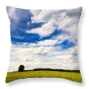 Summer Landscape With Cornfield Blue Sky And Clouds On A Warm Summer Day Throw Pillow