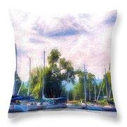 Summer Morning At Johnson's Boatyard Throw Pillow