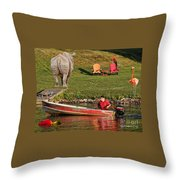 Summer Morning On Muskoka River Throw Pillow