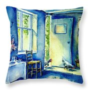 Summer Morning Visitors  Throw Pillow