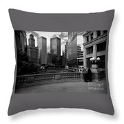 Summer On The Chicago River - Black And White Throw Pillow