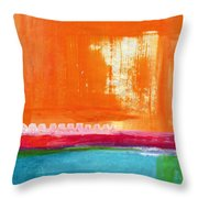 Summer Picnic- Colorful Abstract Art Throw Pillow by Linda Woods