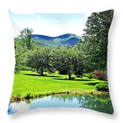 Summer Pond And The Blueridge Throw Pillow