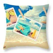 Summer Postcards Throw Pillow