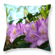 Summer Rhodies Flowers Purple Floral Art Prints Throw Pillow by Baslee Troutman