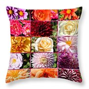 Summer Roses And Dahlias 2013 Throw Pillow