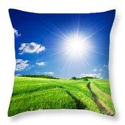 Summer Rural Landcape Throw Pillow