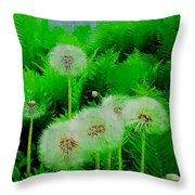Summer Scenery In Green Throw Pillow