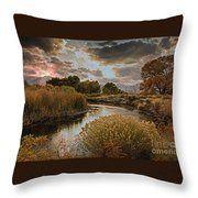 Summer Sets On The Gunnison River Throw Pillow