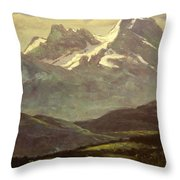 Summer Snow On The Peaks Or Snow Capped Mountains Throw Pillow