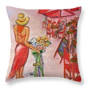 Summer Stroll By A Cafe Throw Pillow
