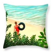 Summer Swim Throw Pillow