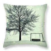 Summer Swing Abandoned In Snow Beside Tree Throw Pillow
