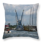 Summer Time Boating Throw Pillow