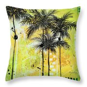 Summer Time In The Tropics By Madart Throw Pillow
