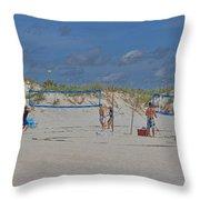 Summer Volley Ball Throw Pillow by Deborah Benoit