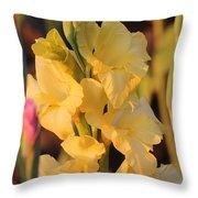 Summer Yellow Gladiolus Throw Pillow