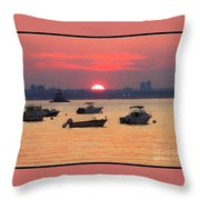 Late Summer Sunset Over The Bay Throw Pillow