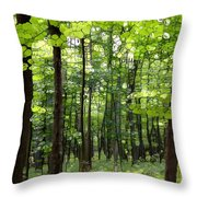 Summer's Green Forest Abstract Throw Pillow