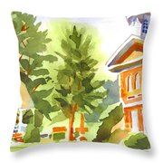Summers Morning On The Courthouse Square Throw Pillow